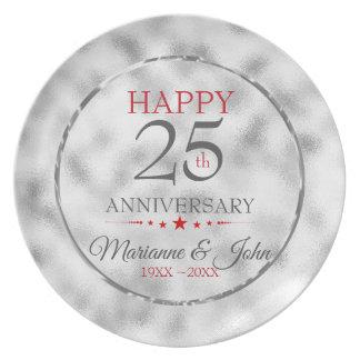 Nebeliges hellgraues Glas-25. Jahrestag Teller
