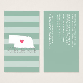 Nebraska-Karten-Zuhause-Staats-Liebe mit Visitenkarte