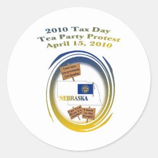 Nebraska-Steuer-Tagestee-Party-Protest Runder Sticker