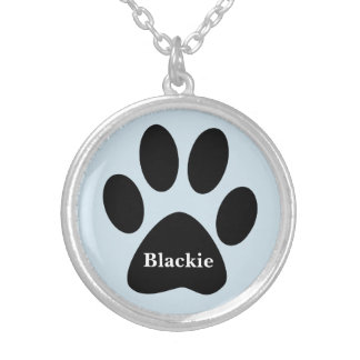 Necklace with Paw Print Personalized Versilberte Kette