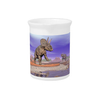 Nedoceratops/diceratops Dinosaurier in der Natur Getränke Pitcher