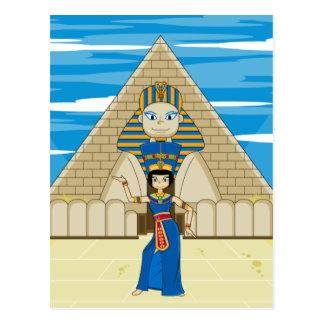 Nefertiti, das an der großen Sphinxe tanzt Postkarte