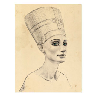 Nefertiti-Porträt auf Papyrusbeschaffenheit Postkarte