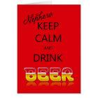 Neffe, behalten Ruhe und trinken Karte