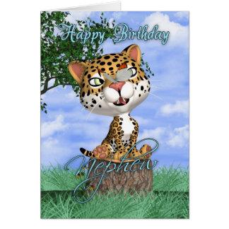 Neffe-Geburtstags-Karte mit niedlichem Jaguar und Karte