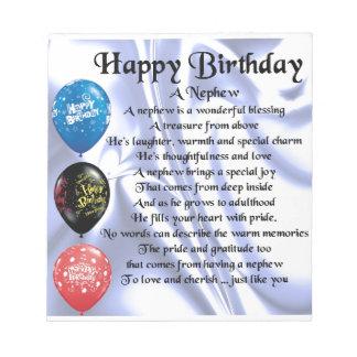 Neffe-Gedicht - alles Gute zum Geburtstag Notizblock