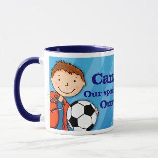 "Neffefußball-Fußballheld ""Ihr Namens"" Tassenblau Tasse"