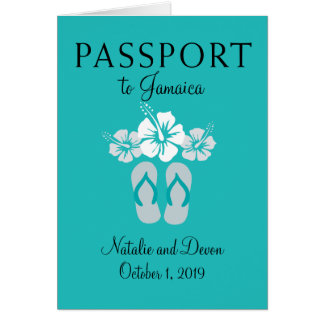 Negril Jamaika Türkis-Hochzeits-Pass Karte