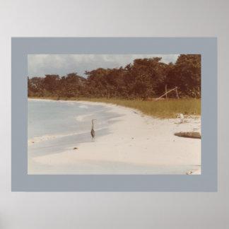 Negril Strand vor dem Hotel-Leinwand-Druck 1984 Poster