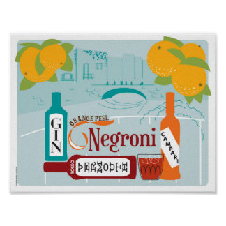 Negroni Zitrusfrucht-Cocktail Poster