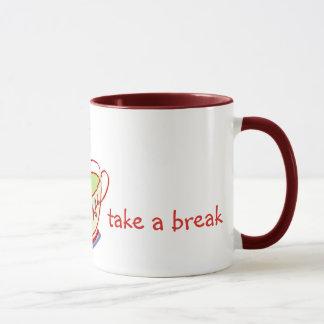 Nehmen Sie einem Bruch grüner Tee-Tassen Tasse