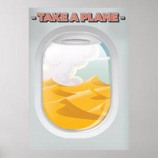 nehmen Sie einem Flugzeug Vintages Reiseplakat Poster