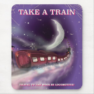 Nehmen Sie einen Zug zum Mond-Cartoonplakat Mousepad