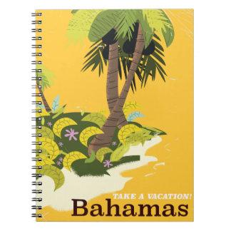 Nehmen Sie Ferien Bahamas Vintages Reiseplakat Notizblock