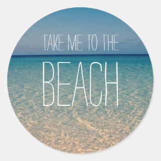 Nehmen Sie mich zum Strand-Ozean-Sommer-blauer Runder Aufkleber