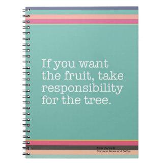 Nehmen Sie Verantwortung für das Baum-Notizbuch Notizblock
