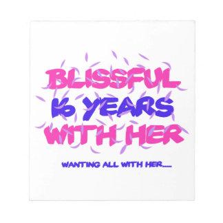 Neigen der 16. Heiratjahrestagsentwürfe Notizblock