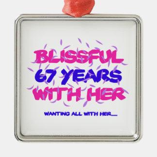 Neigen der 67. Heiratjahrestagsentwürfe Silbernes Ornament