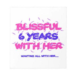 Neigen der 6. Heiratjahrestagsentwürfe Notizblock