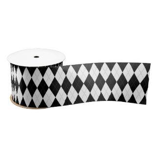 Neigungs-Schwarz-Rauten-weiße kleine Diamant-Form Satinband