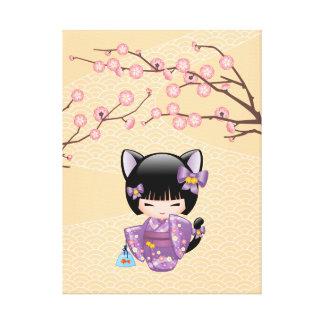 Neko Kokeshi Puppe - Katzen-Ohr-Geisha-Mädchen Leinwanddruck