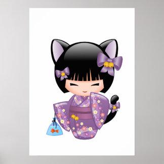 Neko Kokeshi Puppe - Katzen-Ohr-Geisha-Mädchen Poster