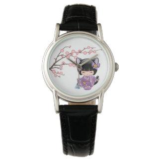 Neko Kokeshi Puppe - Katzen-Ohr-Geisha-Mädchen Uhr