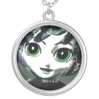 Neko Mädchen, Kat, die Halsketten-Schmuck der Mädc Halskette Mit Rundem Anhänger