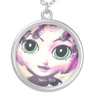 Neko Mädchen, Rosa, die Halsketten-Schmuck der Mäd Halskette Mit Rundem Anhänger