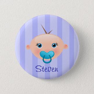 """""""Nennen Sie dieses!"""" Baby-Gesichts-Blau - Knopf Runder Button 5,7 Cm"""