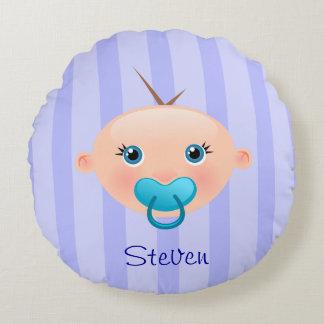 """""""Nennen Sie dieses!"""" Baby-Gesichts-Blau - rundes Rundes Kissen"""