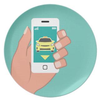 Nennen Sie ein Fahrerhaus am intelligenten Telefon Flache Teller