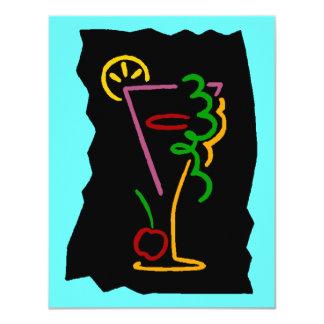 Neon-esque Pop-Kunst-Cocktail-Getränkeeinladungen 10,8 X 14 Cm Einladungskarte