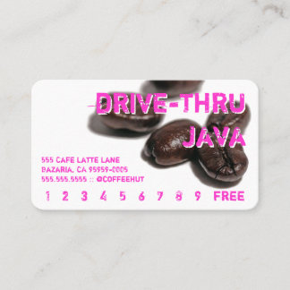 Neon Rounded Coffee Beans Drink Punch Card