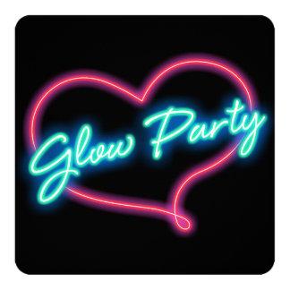 Neon-GLÜHEN-PARTY Herz-Geburtstags-Party Einladung