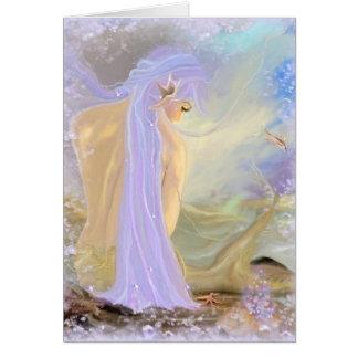 Neon-Haarige Meerjungfrau Grußkarte