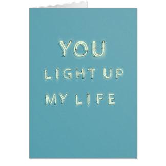 Neon leuchten Sie meiner Leben Valentinstagkarte Karte