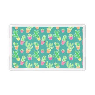 NeonAquarell-Kaktus im Topf-Muster Acryl Tablett
