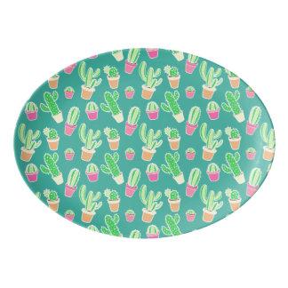 NeonAquarell-Kaktus im Topf-Muster Porzellan Servierplatte