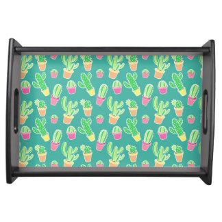 NeonAquarell-Kaktus im Topf-Muster Serviertablett