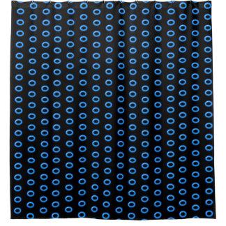 Neonblau auf Schwarzem Duschvorhang