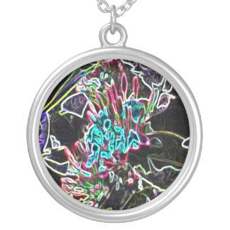 NeonBlumen Halskette Mit Rundem Anhänger