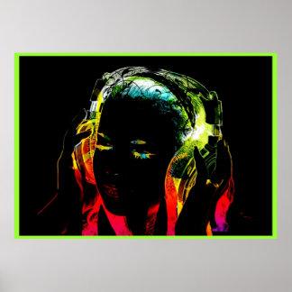 Neondj-Mädchengraphikplakat