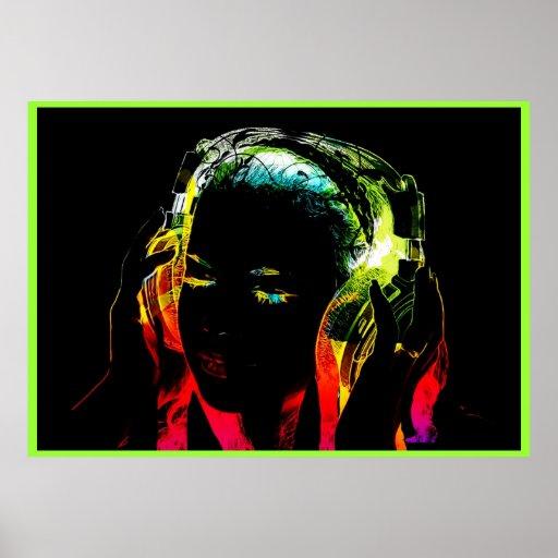 Neondj-Mädchengraphikplakat Poster