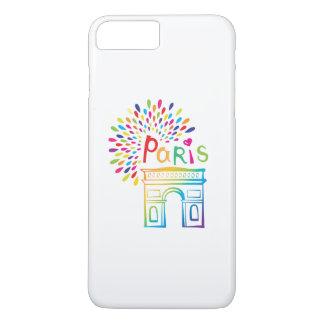 Neonentwurf Paris Frankreich | der Arc de Triomphe iPhone 8 Plus/7 Plus Hülle