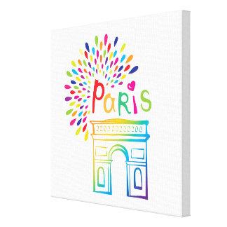 Neonentwurf Paris Frankreich | der Arc de Triomphe Leinwanddruck