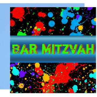 Neonfarben-Spritzer, Bar Mitzvah Einladung
