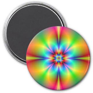 NeonFraktal-Blumen-Magnet Runder Magnet 7,6 Cm