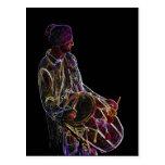 Neonglühen Dhol Schlagzeugerpostkarte Postkarten