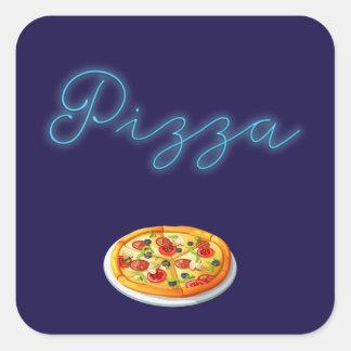 Neonglühen-Pizza Quadratischer Aufkleber